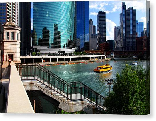 Chicago Skyline River Boat Canvas Print