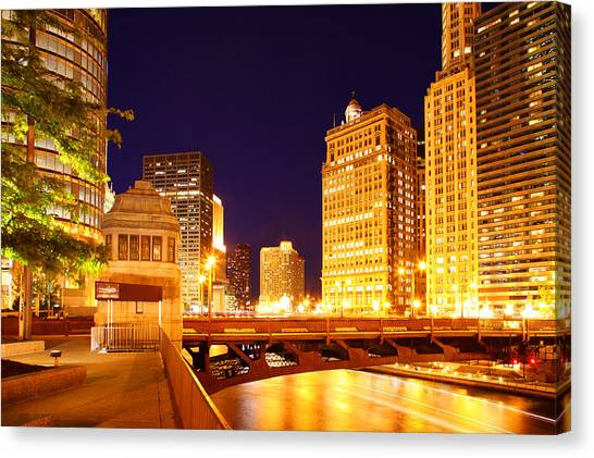 Chicago Skyline River Bridge Night Canvas Print