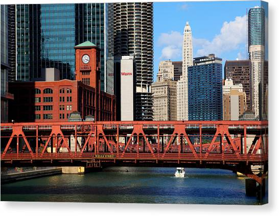 Chicago Skyline River Bridge Canvas Print