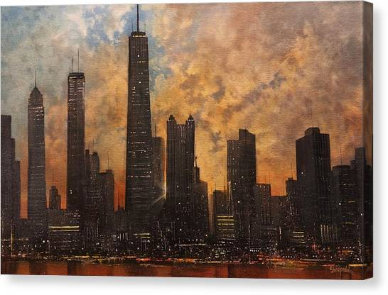 Hancock Building Canvas Print - Chicago Skyline Silhouette by Tom Shropshire