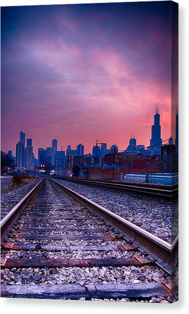 Chicago Skyline Sunrise December 1 2013 Canvas Print