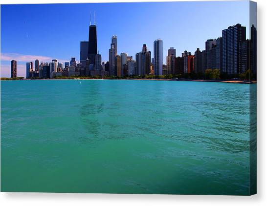 Chicago Skyline Teal Water Canvas Print