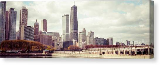 Chicago Skyline Art Canvas Print - Chicago Skyline Vintage Panorama Picture by Paul Velgos