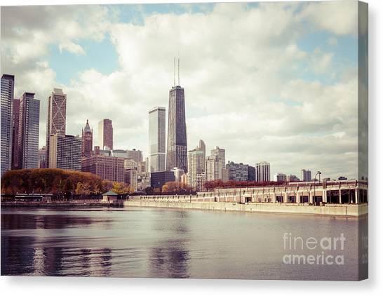 Chicago Skyline Art Canvas Print - Chicago Skyline Vintage Picture by Paul Velgos