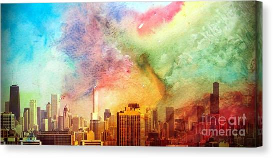 Chicago Skyline Watercolor Sky Canvas Print