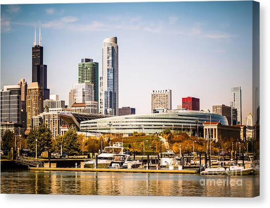 Soldier Field Canvas Print - Chicago Skyline With Soldier Field by Paul Velgos