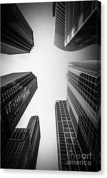 Chicago Canvas Print - Chicago Skyscrapers In Black And White by Paul Velgos