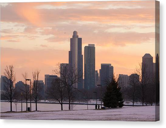 Chicago Skyscrapers In Sunset Canvas Print