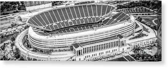 Soldier Field Canvas Print - Chicago Soldier Field Aerial Panorama Photo by Paul Velgos