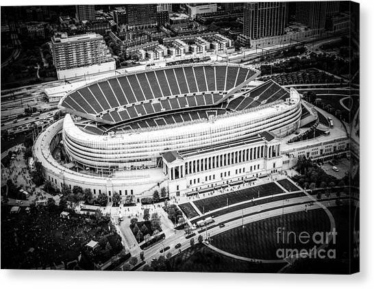 Soldier Field Canvas Print - Chicago Soldier Field Aerial Picture In Black And White by Paul Velgos