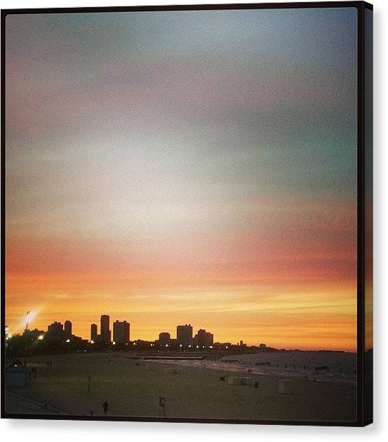 Beach Sunsets Canvas Print - Chicago Sunset by Katie Basil