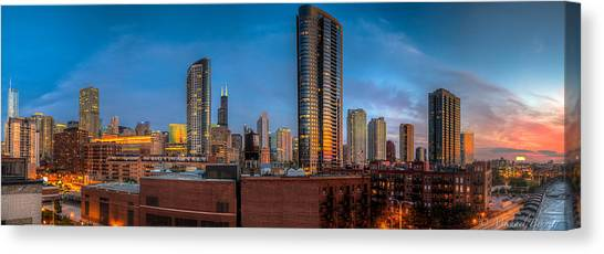 Chicago Sunset Photogtaphy Canvas Print by Michael  Bennett