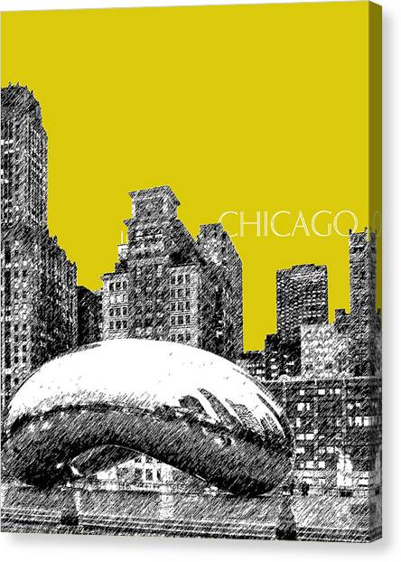 Pen Canvas Print - Chicago The Bean - Mustard by DB Artist