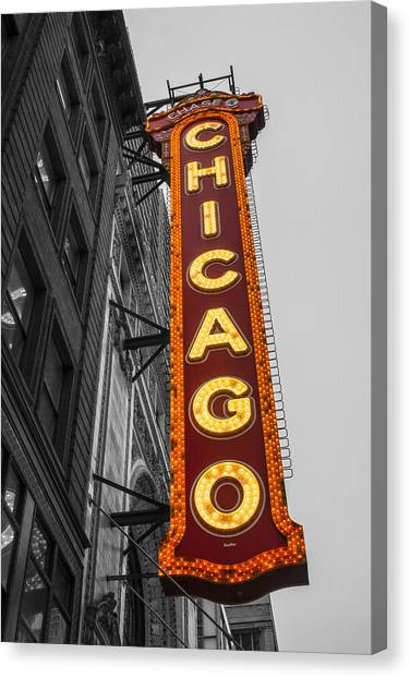 Chicago Theater Selective Color Canvas Print