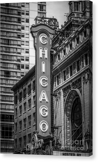 Chicago Canvas Print - Chicago Theater Sign In Black And White by Paul Velgos