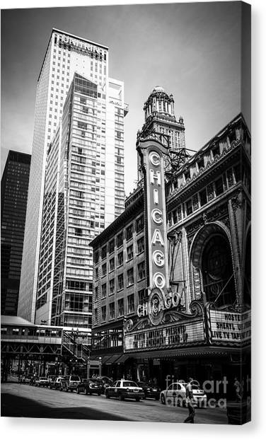 Chicago Black White Canvas Print - Chicago Theatre Black And White Picture by Paul Velgos