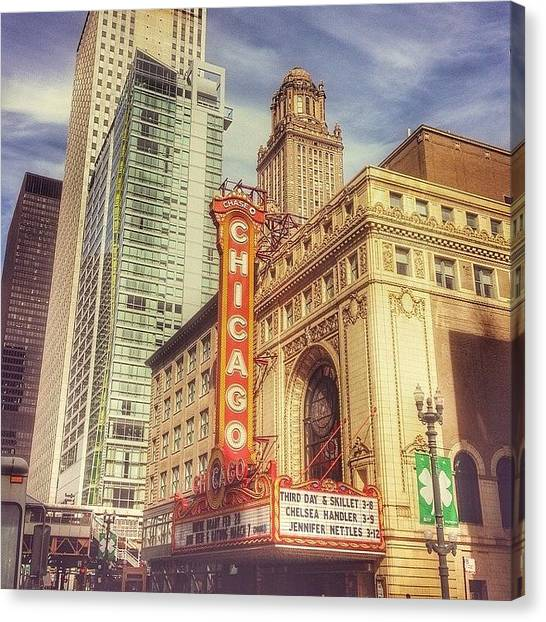 Chicago Canvas Print - Chicago Theatre #chicago by Paul Velgos