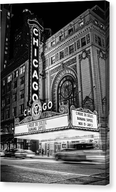 Chicago Theatre Marquee Sign At Night Black And White Canvas Print