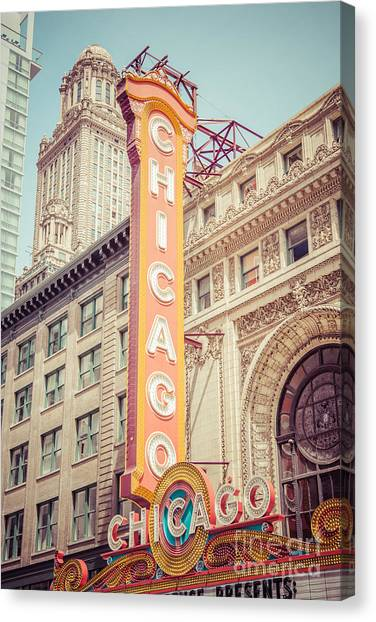 Chicago Theatre Retro Vintage Picture Canvas Print by Paul Velgos