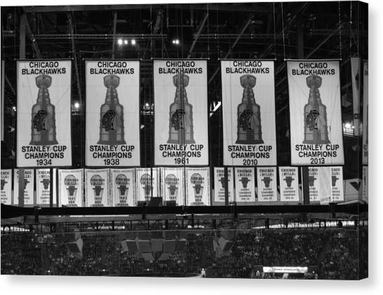 Patrick Kane Canvas Print - Chicago United Center Banners Bw by Thomas Woolworth
