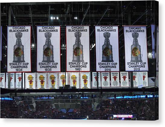 Patrick Kane Canvas Print - Chicago United Center Banners by Thomas Woolworth