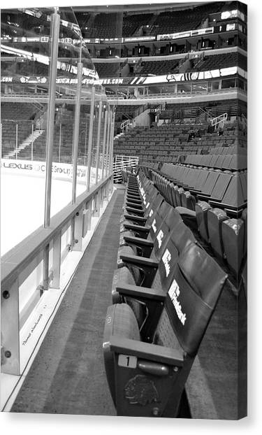 Patrick Kane Canvas Print - Chicago United Center Before The Gates Open Blackhawk Seat One Bw by Thomas Woolworth