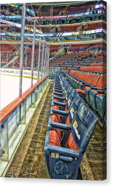 Patrick Kane Canvas Print - Chicago United Center Before The Gates Open Blackhawk Seat One Hdr by Thomas Woolworth