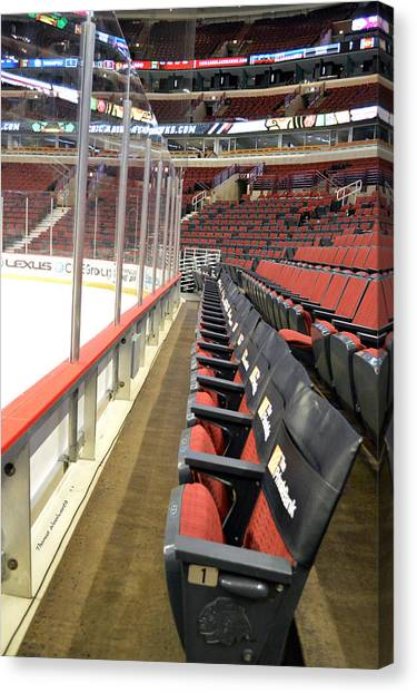 Patrick Kane Canvas Print - Chicago United Center Before The Gates Open Blackhawk Seat One by Thomas Woolworth