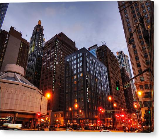 Chicago - Wabash And Wacker 001 Canvas Print by Lance Vaughn