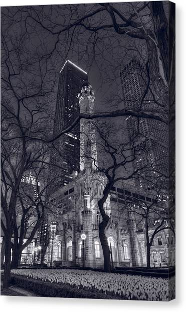 Chicago Fire Canvas Print - Chicago Water Tower Dusk B W by Steve Gadomski
