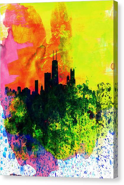 University Of Illinois Canvas Print - Chicago Watercolor Skyline by Naxart Studio