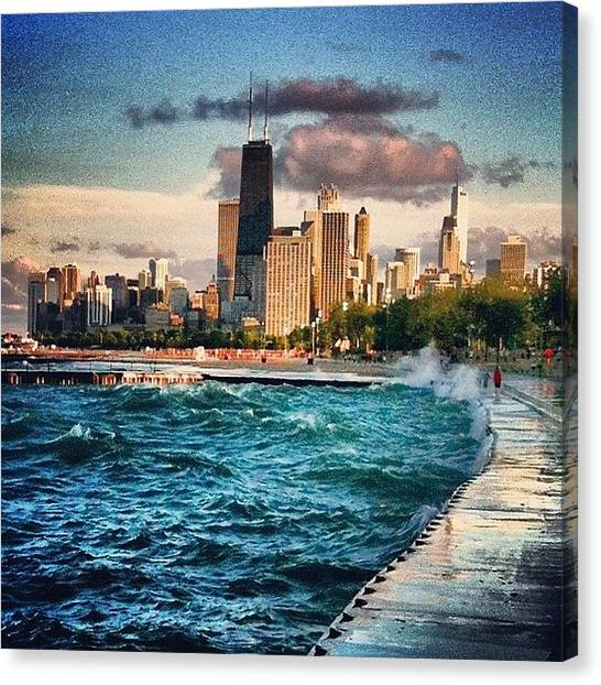 Lake Michigan Canvas Print - #chicago #waves by Jennifer Gaida