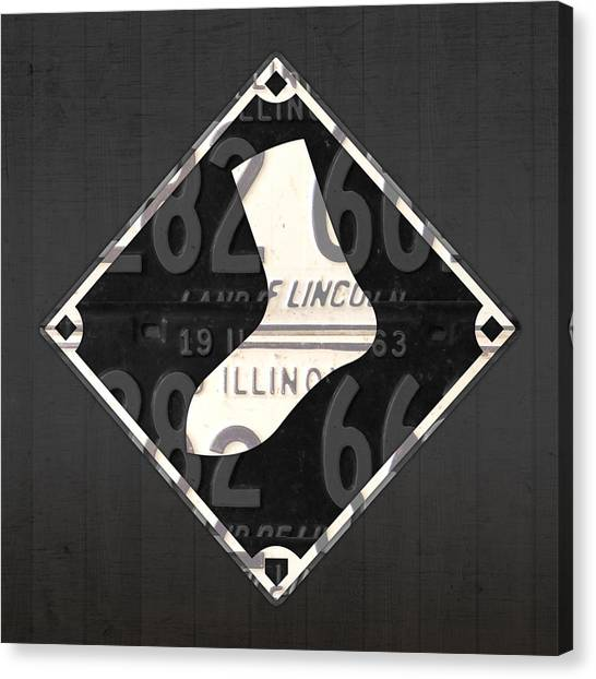 Chicago White Sox Canvas Print - Chicago White Sox Baseball Vintage Logo License Plate Art by Design Turnpike