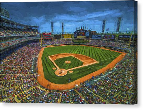 Chicago White Sox Canvas Print - Chicago White Sox Painted Digitally Us Cellular Field by David Haskett II