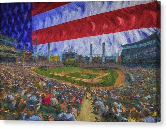 Chicago White Sox Canvas Print - Chicago White Sox Us Cellular Field Flag Digitally Painted  by David Haskett II