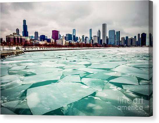 Skylines Canvas Print - Chicago Winter Skyline by Paul Velgos