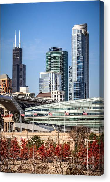 Soldier Field Canvas Print - Chicago With Soldier Field And Sears Tower by Paul Velgos