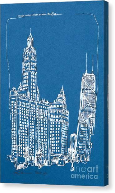 Chicago Wrigley And Hancock Bldgs Silkscreen Print Canvas Print