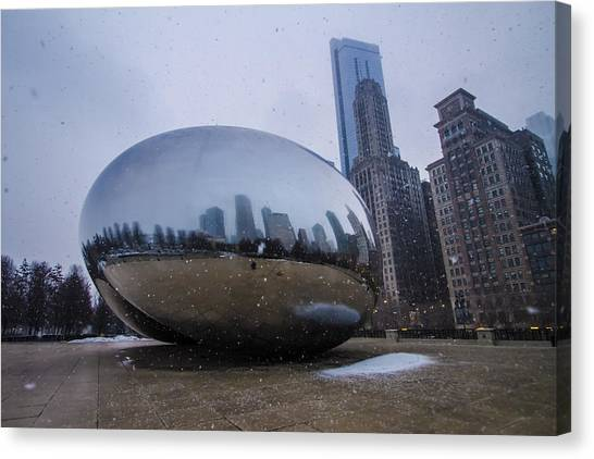 Cloudgate Canvas Print - Chicago's Cloudgate While Its Snowing by Sven Brogren