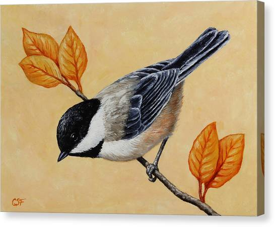 Chickadees Canvas Print - Chickadee And Autumn Leaves by Crista Forest