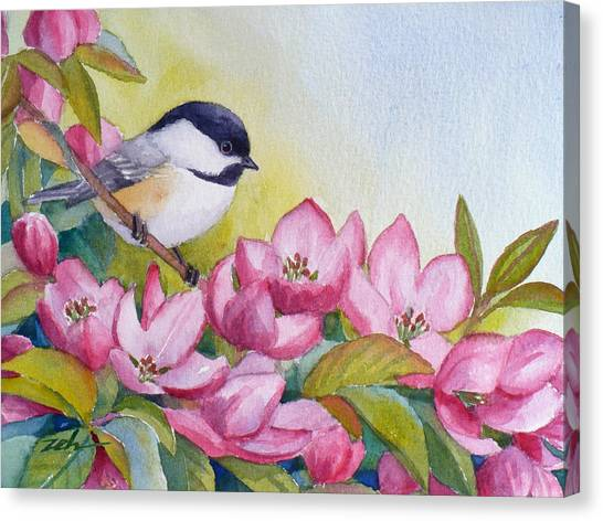 Chickadee And Crabapple Flowers Canvas Print