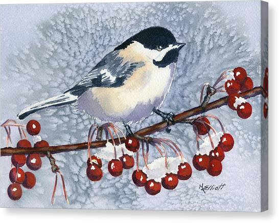 Wild Berries Canvas Print - Chickadee by Marsha Elliott