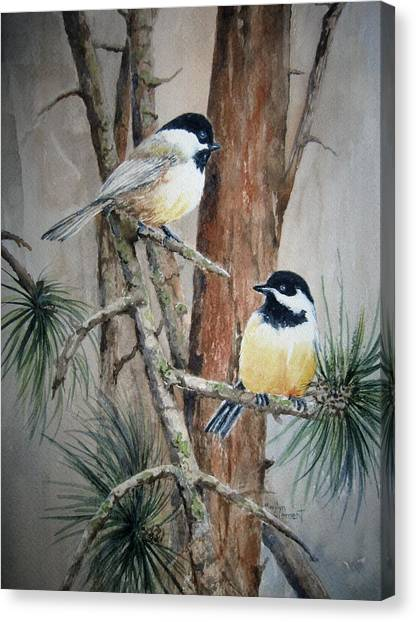 Chickadee Pair Canvas Print
