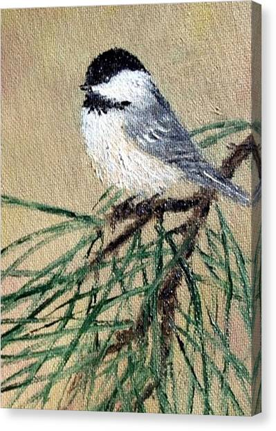 Chickadee Set 17 Bird 2 Detail Print Canvas Print