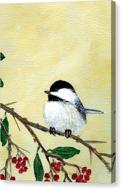 Chickadee Set 4 - Bird 2 - Red Berries Canvas Print