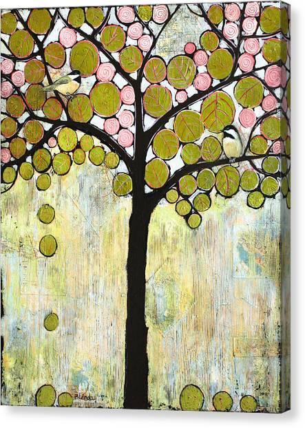 Chickadees Canvas Print - Chickadee Tree by Blenda Studio