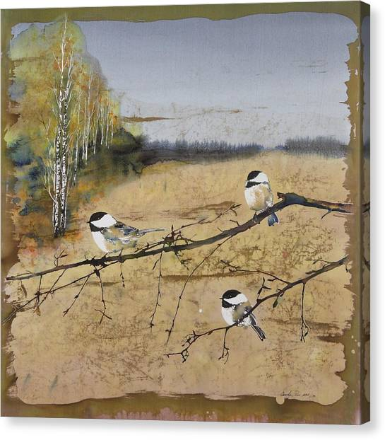 Chickadee Canvas Print - Chickadees And A Row Of Birch Trees by Carolyn Doe