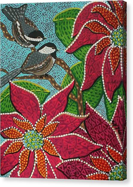 Chickadee's At Winter Time Canvas Print