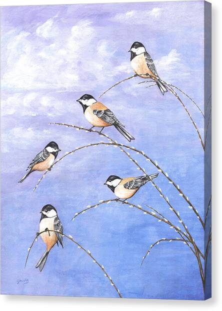 Chickadees Canvas Print