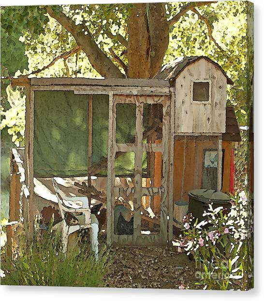 Chicken Coop On The Farm Canvas Print by Artist and Photographer Laura Wrede